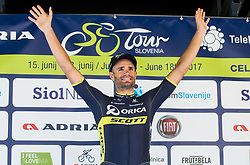 Winner Luka Mezgec (SLO) of Orica - Scott celebrates during trophy ceremony after the Stage 2 of 24th Tour of Slovenia 2017 / Tour de Slovenie from Ljubljana to Ljubljana (169,9 km) cycling race on June 16, 2017 in Slovenia. Photo by Vid Ponikvar / Sportida