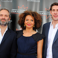 Stars turned out for the premier of Director Sam Mendes new film Away We Go which opened the 2009 Edinburgh Film Festival.  Pictured Director Sam Mendes with actors Carmen Ejogo and John Krasinski.
