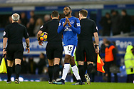 Cuco Martina of Everton  looks dejected after the game. Premier league match, Everton v Manchester Utd at Goodison Park in Liverpool, Merseyside on New Years Day, Monday 1st January 2018.<br /> pic by Chris Stading, Andrew Orchard sports photography.