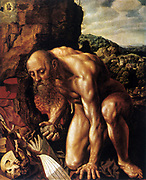 Saint Jerome in the Desert' Oil on wood. Jan Sanders van Hemessen (1528-after 1587) Early Netherlandish painter. Jerome, a father of Wester Christian Church (c340-420) compiler the Vulgate. Naked Old Man Bald Beard Book Crucifix