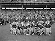 281/3967-3974...16081953AISHCSF...16.08.1953, 08.16.1953, 16th August 1953...All Ireland Senior Hurling Championship - Semi-Final..Galway.3-5.Kilkenny.1-10...Galway Team. ...S. Duggan, C. Corless, W. ONeill, J. Brophy, M. Burke (Captain), J. Molloy, E. Quinn, J. Salmon, W. Duffy, J Duggan, H. Gordon, J. Killeen, M. McInerney, J. Gallagher, P Nolan.Subs: M. J. Flaherty for Nolan; P. Duggan for J. Duggan.M. Burke (Captain). ...........Galway- Winners........................................