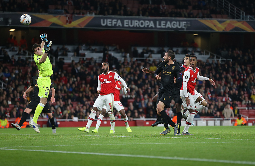 Arsenal's Gabriel Martinelli scores his side's first goal  <br /> <br /> Photographer Rob Newell/CameraSport<br /> <br /> UEFA Europa League group F - Arsenal v Vitoria Guimaraes - Thursday 24th October 2019  - Emirates Stadium - London<br />  <br /> World Copyright © 2018 CameraSport. All rights reserved. 43 Linden Ave. Countesthorpe. Leicester. England. LE8 5PG - Tel: +44 (0) 116 277 4147 - admin@camerasport.com - www.camerasport.com
