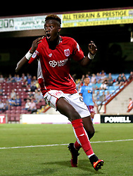 Tammy Abraham of Bristol City looks frustrated after his shot is saved by Luke Daniels of Scunthorpe United - Mandatory by-line: Robbie Stephenson/JMP - 23/08/2016 - FOOTBALL - Glanford Park - Scunthorpe, England - Scunthorpe United v Bristol City - EFL Cup second round