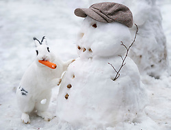 © Licensed to London News Pictures. 24/01/2021. London, UK. Humbug the Rabbit steals a snowman's carrot. Parts of the UK continue to suffer from flooding caused by Storm Christoph. Photo credit: LNP