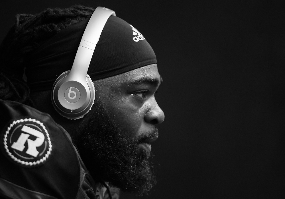 OTTAWA, ON - JUN 21: Offensive Lineman SirVincent Rogers (#55) prepares for the CFL match between the Ottawa RedBlacks and the Saskatchewan Roughriders at TD Place Stadium in Ottawa, ON. Canada on June 21, 2018.<br /> <br /> PHOTO: Steve Kingsman/Freestyle Photography
