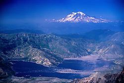 Mt. Rainier from Summit of Mt. St. Helens, Mt. St. Helens National Volcanic Monument, Washington, US