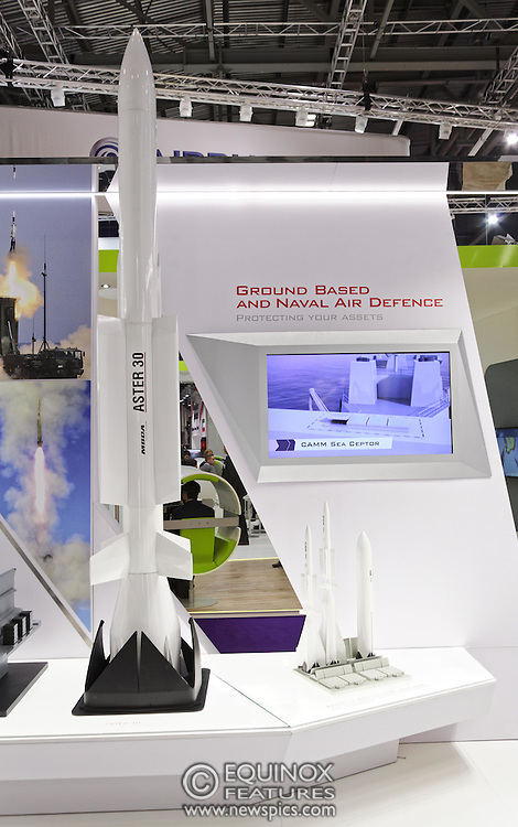 London, United Kingdom - 18 September 2015<br /> Missile manufacturer MBDA display their products including the ASRAAM air to air missile, a variant of which has just been ordered by the Ministry of Defence in a £300m contract, at the defence and security exhibition DSEI at ExCeL, Woolwich, London, England, UK.<br /> (photo by: EQUINOXFEATURES.COM)<br /> <br /> Picture Data:<br /> Photographer: Equinox Features<br /> Copyright: ©2015 Equinox Licensing Ltd. +448700 780000<br /> Contact: Equinox Features<br /> Date Taken: 20150918<br /> Time Taken: 13124560<br /> www.newspics.com