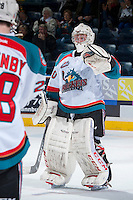 KELOWNA, CANADA - JANUARY 22: Jordon Cooke #30 of the Kelowna Rockets celebrates the win against the Everett Silvertips on January 22, 2014 at Prospera Place in Kelowna, British Columbia, Canada.   (Photo by Marissa Baecker/Getty Images)  *** Local Caption *** Jordon Cooke;
