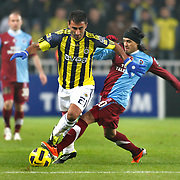 Fenerbahce's Selcuk SAHIN (L) and Trabzonspor's Gustavo COLMAN (R) during their Turkish superleague soccer derby match Fenerbahce between Trabzonspor at the Sukru Saracaoglu stadium in Istanbul Turkey on Sunday 30 January 2011. Photo by TURKPIX