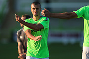 Forest Green Rovers Haydn Hollis(32) warming up during the EFL Sky Bet League 2 match between Forest Green Rovers and Stevenage at the New Lawn, Forest Green, United Kingdom on 21 August 2018.