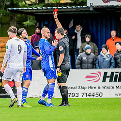 Matt Liddiard shown the red card for second yellow of the game in the Swindon Supermarine Truro city game 24/10/2020