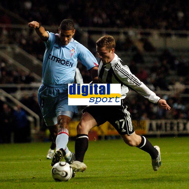 Photo: Jed Wee.<br /> Newcastle United v Celta Vigo. UEFA Cup. 23/11/2006.<br /> <br /> Newcastle's Scott Parker (R) looks to take on Celta Vigo's Yago Yao.