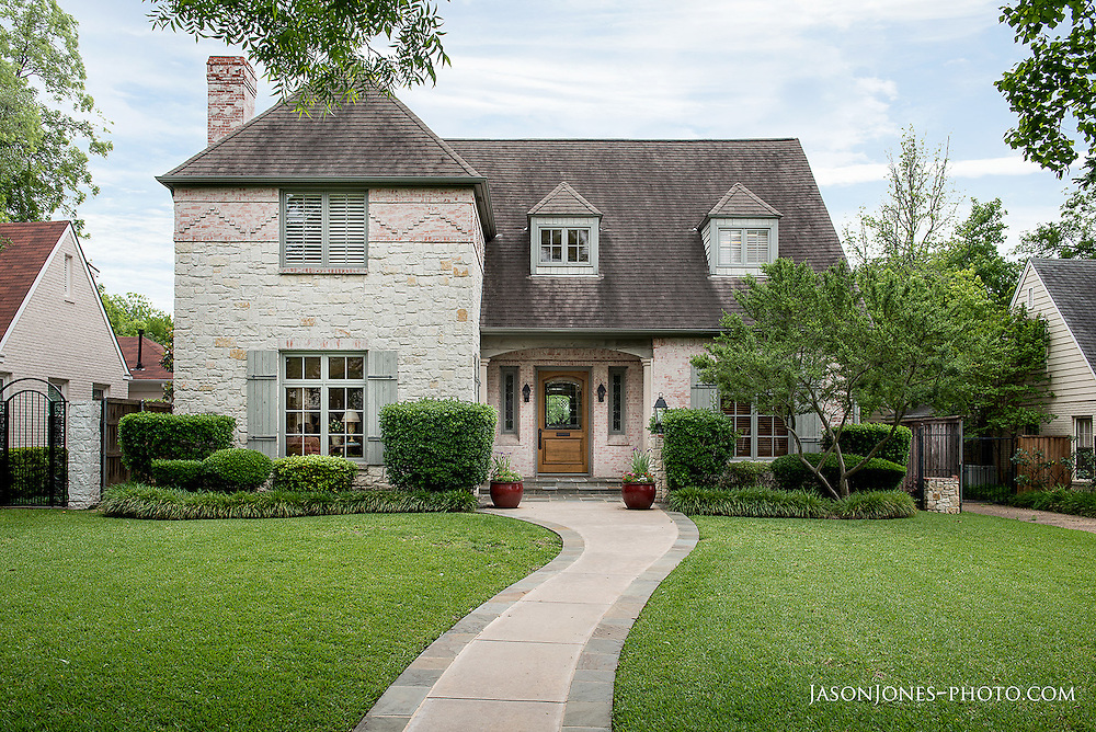 Traditional style custom home renovation, front exterior angle