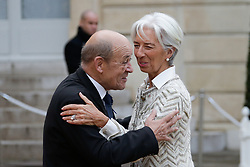 Director of the International Monetary Fund Christine Lagarde with Jean Yves Le Drian at the Elysee Palace before going to the ceremony of the centenary of the armistice of 1918 at the Arc de Triomphe on November 11, 2018 in Paris, France. Photo by Thibaud MORITZ ABACAPRESS.COM