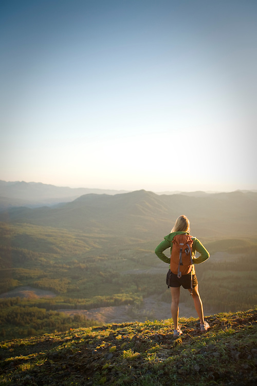 Young woman hiking in Saddle Mountain State Park, OR