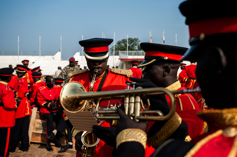 Military band members rehearse for the ceremony marking South Sudan as an independent nation.