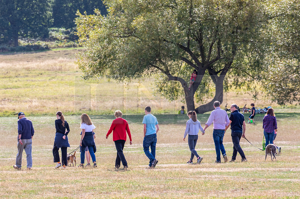"""© Licensed to London News Pictures. 12/09/2020. London, UK. Families enjoy a glorious walk in the sunshine in Richmond Park in South West London this afternoon before the """"Rule of 6"""" comes into force on Monday as weather experts announce a 6 day mini heatwave in the South East of England this week with highs in excess of 29c. Prime Minister Boris Johnson is already under pressure after he announced on Friday that gatherings of more than six people will be banned from Monday in the hope of reducing the coronavirus R number. The Rule of Six as it is known, has already become unpopular with MPs and large families. Photo credit: Alex Lentati/LNP"""