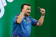 Jonny Clayton celebrates his victory over Steve Beaton during the PDC Darts Players Championship at  at Butlins Minehead, Minehead, United Kingdom on 26 November 2017. Photo by Shane Healey.