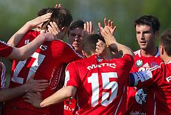 Players of Interblock celebrate at 28th Round of Slovenian First League football match between NK Interblock and ND Hit Gorica ZAK Stadium, on April 11, 2009, in Ljubljana, Slovenia. Gorica won 2:1. (Photo by Vid Ponikvar / Sportida)