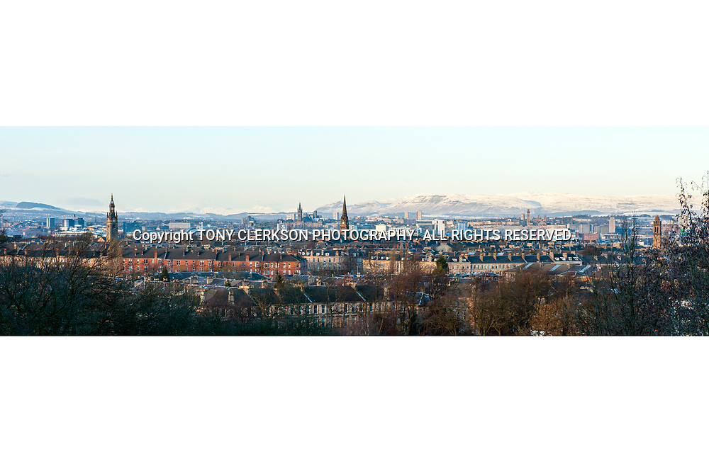 Panoramic view of Glasgow from Queen's Park, towards the west and north. University of Glasgow can be seen as can snow-covered Campsies