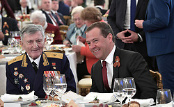 May 9, 2017 - Moscow, Russia - May 9, 2017. - Russia, Moscow. - Russian Prime Minister Dmitry Medvedev and Sergey Kramarenko (left), veteran of the Great Patriotic War, hero of the Soviet Union, at the reception on behalf of the President to mark the 72nd anniversary of Victory in the 1941-1945 Great Patriotic War. (Credit Image: © Russian Look via ZUMA Wire)