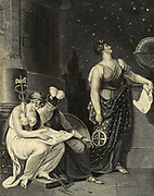Architecture Is Represented In A Female Form, Sitting Upon The Pedestal Of A Pillar, With Various Tools And Instruments Around Her, Carefully Inspecting The Accuracy And Ingenuity Of A Design Which Lies In Her Lap. At Her Side the Figure of Reason, With a Helmet on Her Head, Pallas's Shield in Her Left Hand, And Mercury's Caduceus in Her Right. Astronomy Is Personified By A Beautiful Female As Urania, With A Silver Crescent, Clothed In An Azure Mantle Spangled With Stars; Her Eyes Intensely Fixed Upon The Starry Firmament; With An Astrolabe In Her Right Hand, And A Scroll, Containing Astronomical Figures, In Her Left. Copperplate engraving From the Encyclopaedia Londinensis or, Universal dictionary of arts, sciences, and literature; Volume II;  Edited by Wilkes, John. Published in London in 1810