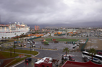 """(Image three of nine) Panorama of the Ensenada harbor in Mexico on a grey and raining day from the deck of the MV World Odyssey. The other cruse ship is the Carnival Imagination. Once all of the students, faculty, staff, and life long learners were aboard we would be ready to begin the 102 day """"round the world"""" Semester at Sea Spring 2016 Voyage. Composite of nine images taken with a Leica T camera and 23 mm f/2 lens (ISO 250, 23 mm, f/2, 1/80 sec). Panorama stitched using AutoPano Giga Pro."""