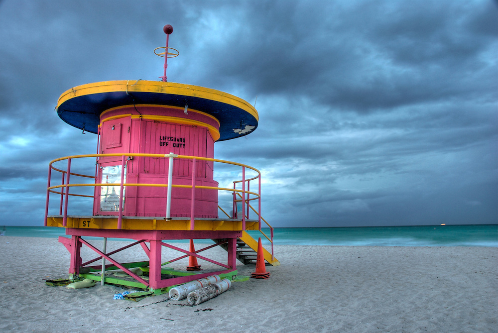 Typical Shelter for Lifeguards in Miami Beach, taken at dusk, in a stormy afternoon.