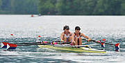 Bled, SLOVENIA,  Bow, Stesha CARLE and Kathleen BERTKO. USA W2X  move away from the start in their heat of the women's double Sculls,  on the opening day, FISA World Cup, Bled venue, Lake Bled.  Friday  28/05/2010  [Mandatory Credit Peter Spurrier/ Intersport Images]