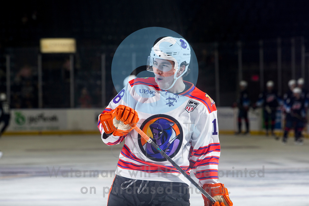 The Youngstown Phantoms lose 5-2 to Team USA NTDP U-18s at the Covelli Centre on December 6, 2019.<br /> <br /> Jake Suede, forward, 18