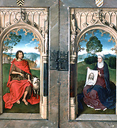 Jan Floreins Triptych, 1470s. Oil on panel.  Hans Memling (1430/1440-1494) South Netherlandish painter. Image of saints on reverse of panels when closed.