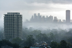 Houston, Texas skyline viewed from the west during rainstorm.