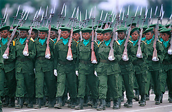 KINSHASA, DEMOCRATIC REPUBLIC OF CONGO - JUNE 30, 2001 - A unit of female soldiers from the Democratic Republic of Congo, marches in the military parade in Kinshasa, during independence day celebrations marking 41 years of independence from Belgium. (PHOTO © JOCK FISTICK)