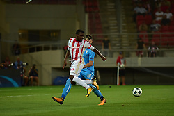 August 16, 2017 - Piraeus, Attiki, Greece - Ben Nabouhane (no 31) of Olympiacos tries to avoid Josip Ellen (no 18) of HNK Rijeka..Olympiacos manage to win 2-1 against HNK Rijeka in the first game for the UEFA Champions League play-offs, despite the fact that HNK Rijeka has achieved goal first. After this match the attention of the both team is going to focus to the rematch. (Credit Image: © Dimitrios Karvountzis/Pacific Press via ZUMA Wire)