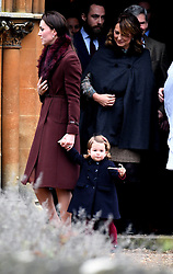 Catherine, Duchess of Cambridge,Princess Charlotte of Cambridge, James Middleton, Carole Middleton and Michael Middleton attend a Christmas Day service at St. Marks Church in Englefield on December 25, 2016.