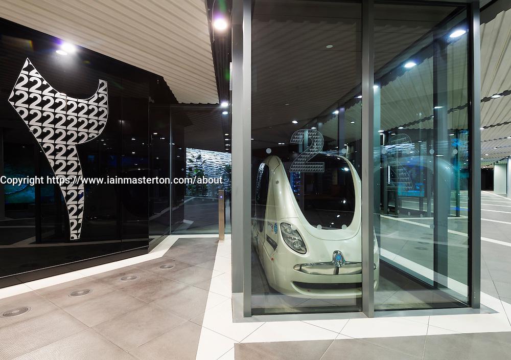 Driverless PRT Personal Rapid Transport Pod cars at Masdar City technical institute in Abu Dhabi United Arab Emirates