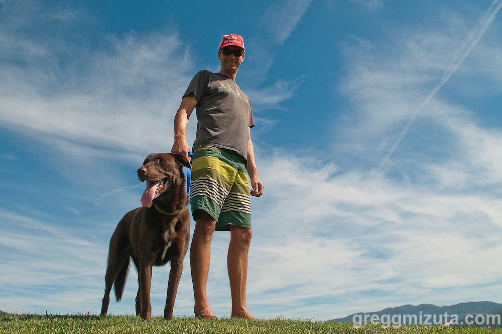 Tom Denig and Little Bay,a Chocolate Lab/Boarder Collie at the Payette River Games at Kelly's Whitewater Park in Cascade, Idaho on June 21, 2014.