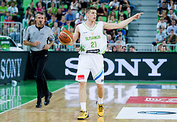 Aleksej Nikolic of Slovenia during friendly basketball match between National Teams of Slovenia and Brasil at Day 2 of Telemach Tournament on August 22, 2014 in Arena Stozice, Ljubljana, Slovenia. Photo by Vid Ponikvar / Sportida