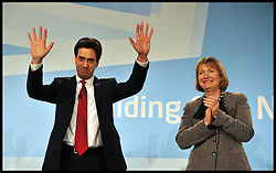 The Leader of the Labour Party Ed Miliband with Labour deputy leader, Harriet Harman, after his speech to the Labour Party Special Conference being held at the Excel Centre. London, United Kingdom. Saturday, 1st March 2014. Picture by Andrew Parsons / i-Images