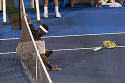 February 23, 2018 - Delray Beach, FL, United States - Delray Beach, FL - February 23: Francis Tiafoe (USA) drapes and then shows himself into the net in protest after Hyeon Chung (KOR) hits what was suspected to be a double bounce during their quarter-finals match at the 2018 Delray Beach Open held at the Delray Beach Tennis Center in Delray Beach, Florida.   Credit: Andrew Patron/Zuma Wire (Credit Image: © Andrew Patron via ZUMA Wire)