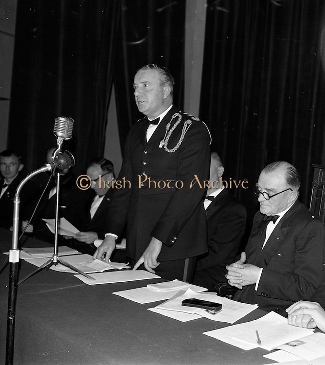 20/10/1962<br /> 10/20/1962<br /> 20 October 1962<br /> Official opening of an Oireachtas at the Mansion House, Dublin.  Picture shows General Sean MacEoin speaking at the official opening. On right is former Chief Justice Conor Maguire, Uachtarain an Oireachtas.
