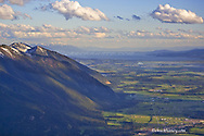 Aerial view of Columbia Mountain looking south to Flathead Lake in the Flathead Valley of Montana