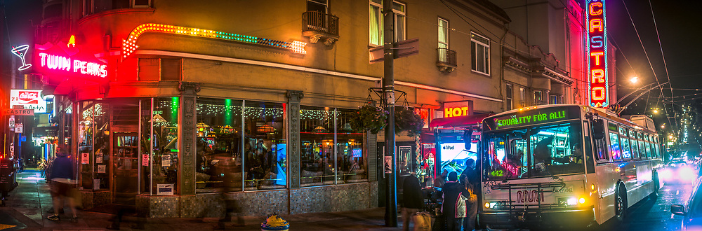 The corner of 18th and Castro streets are seen at night in the Castro District. San Francisco, CA.