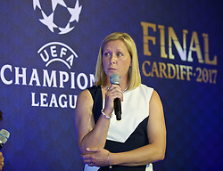 CARDIFF, WALES - Wednesday, August 31, 2016: Wales women's manager and former Women's Champions League winner Jayne Ludlow during a gala dinner at the Cardiff Museum to launch the UEFA Champions League Finals 2017 to be held in Cardiff. (Pic by David Rawcliffe/Propaganda)