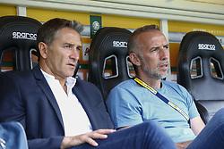 July 21, 2018 - Lens, France - Philippe Montanier ( Entraineur coach Lens) et  Eric Roy  (Credit Image: © Panoramic via ZUMA Press)