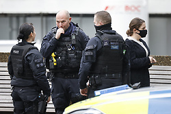 © Licensed to London News Pictures. 13/10/2020. London, UK. Armed police are seen outside St Thomas' Hospital. Photo credit: Peter Macdiarmid/LNP