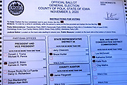08 OCTOBER 20202 - DES MOINES, IOWA: A Polk County, Iowa mail-in absentee ballot marked for Democratic candidates, including Joe Biden and Kamala Harris. PHOTO BY JACK KURTZ