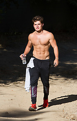 EXCLUSIVE: Gregg Sulkin show off his abs while hiking at a local park in Los Angeles. 23 Jul 2017 Pictured: Gregg Sulkin shirtless. Photo credit: MEGA TheMegaAgency.com +1 888 505 6342