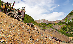 A mine that was destroyed by recent heavy snow drifts. This mine was still erect just a couple of years ago.