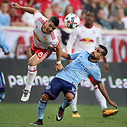 HARRISON, NEW JERSEY- AUGUST 25: Felipe Martins #8 of New York Red Bulls is challenged by Maximiliano Moralez #10 of New York City FC during the New York Red Bulls Vs New York City FC MLS regular season match at Red Bull Arena, Harrison, New Jersey on August 25, 2017 in Harrison, New Jersey. (Photo by Tim Clayton/Corbis via Getty Images)